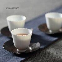3PCS WIZAMONY White Ceramic High Quality Chinese Porcelain Purely Handmade Jingdezhen Teaset Tea Cup Bowl