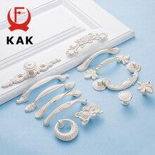 KAK 5 шт цинк Aolly слоновая кость белая ручка для шкафа кухонный шкаф дверные ручки для выдвижных ящиков Европейский стиль оборудование для обработки мебели