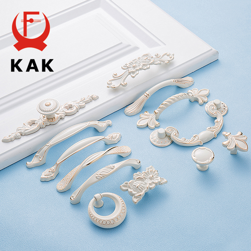 KAK 5pcs Zinc Aolly Ivory White Cabinet Handle Kitchen Cupboard Door Pulls Drawer Knobs European Style Furniture Handle Hardware 1 pair 4 inch stainless steel door hinges wood doors cabinet drawer box interior hinge furniture hardware accessories m25