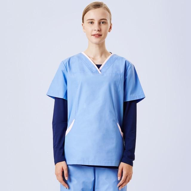 2c0cf0585f9 Comfort Stretch Women's Scrub Set Medical Scrubs Nursing Uniform Poplin Top  and Pant V Neck Hospital Workwear Dentist Clothing