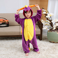 Purple Dragon Autumn Winter Pajamas Unicorn Kids Cartoon One Piece Girls Boys Children Clothing Animal Pajamas