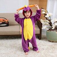 Purple Dragon Autumn Winter Pajamas Unicorn Kids Cartoon One Piece Girls Boys Children Clothing Animal Pajamas