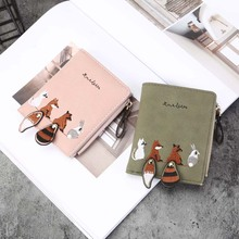 Womens Wallet Lovely Cartoon Animals Short Leather Female Small Coin Purse Hasp Zipper Card Holder For Girls 123