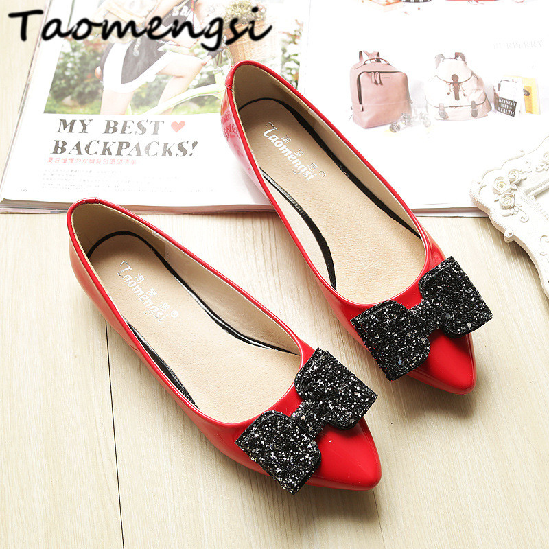 Taomengsi 2017 High end! Women's flats shoes leather Fashion pointed Toe bowknot Comfortable Non-slip BIG SIZE 33-43 Woman shoes new listing pointed toe women flats high quality soft leather ladies fashion fashionable comfortable bowknot flat shoes woman