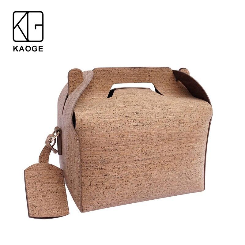 KAOGE Vegan Luxury Lunch Bag Handmade Natural Cork baobao Vintage Handbags Cake Crossbody Bag  Shoulder Bags