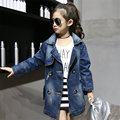 Fashion Girls Denim Jacket Coat Windbreaker 2017 New Long Kis Girl Jackets Girls Outerwear Coats Long Teenage Girl Jackets