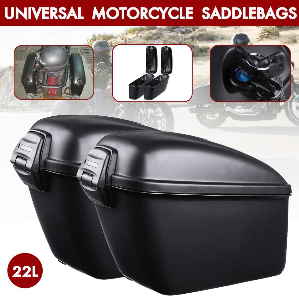 Paire sacoche de coffre arrière moto universelle 22L sacoche de selle latérale sacoches pour Harley/Suzuki/Yamaha/Honda