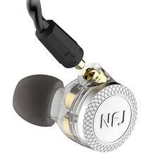 NFJ N300 PRO 3ไดรฟ์หูฟังที่ถอดออกได้ถอดสายMMCX DJ HIFIพร้อมไมโครโฟนหูฟังHeavy bass