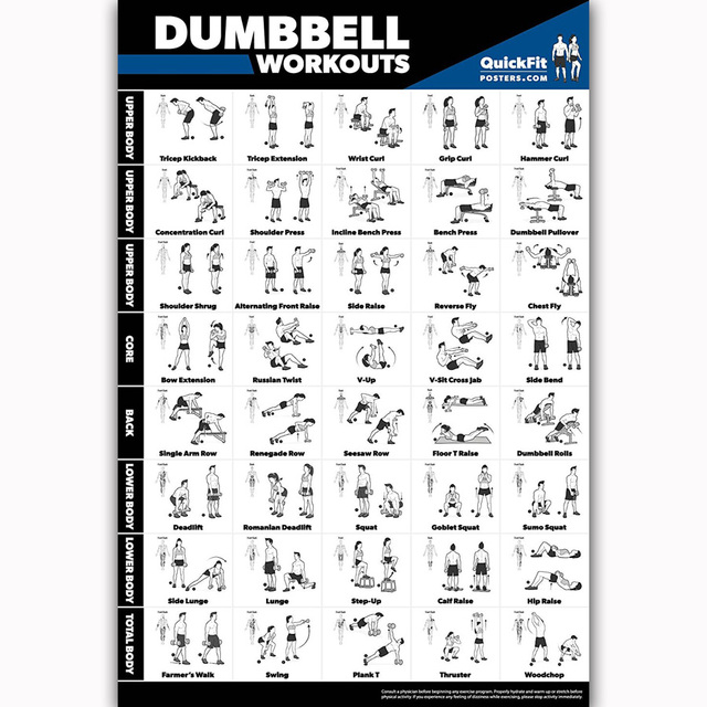 US $5 48 7% OFF|MQ2346 Dumbbell Workout Exercise Body Building Guide Gym  Hot New Art Poster Top Silk Light Canvas Home Decor Wall Picture Print-in