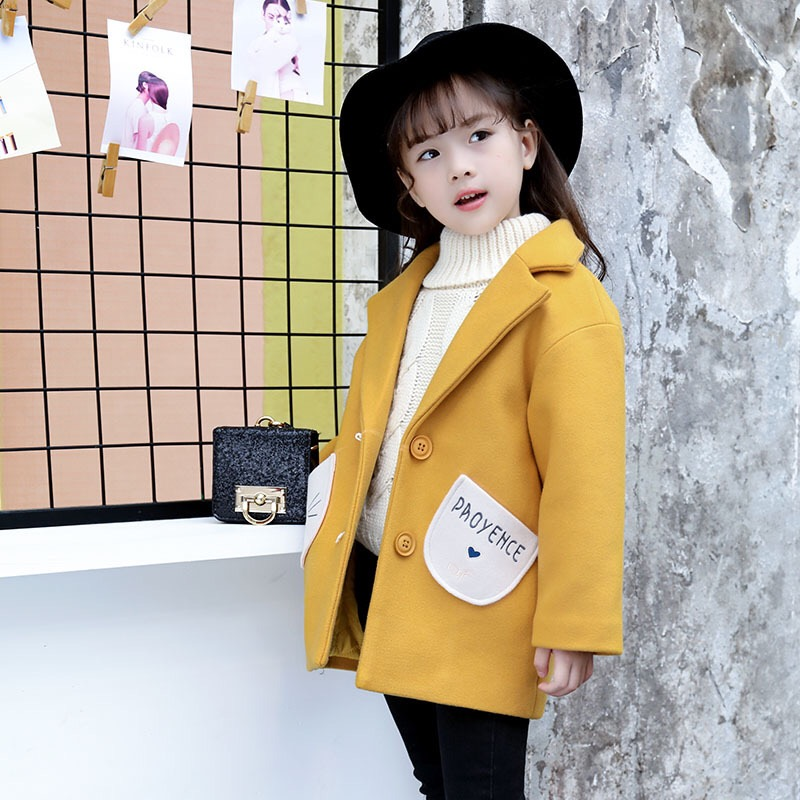 2017 New Girls' Winter Wool Tweed Coat Kids Woolen Coat Children Outercoat Girls Coat Baby Cute Coat,3-8Y,#2358 the new children s cubs hat qiu dong with cartoon animals knitting wool cap and pile