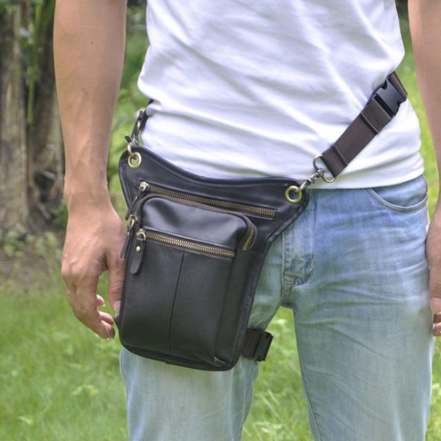Nova Primeira Camada de Couro do Vintage Dos Homens de Couro Genuíno Da Gota Perna Cinto Hip Bum Fanny Pack Cintura Mensageiro Corpo Cruz bolsa de Ombro saco