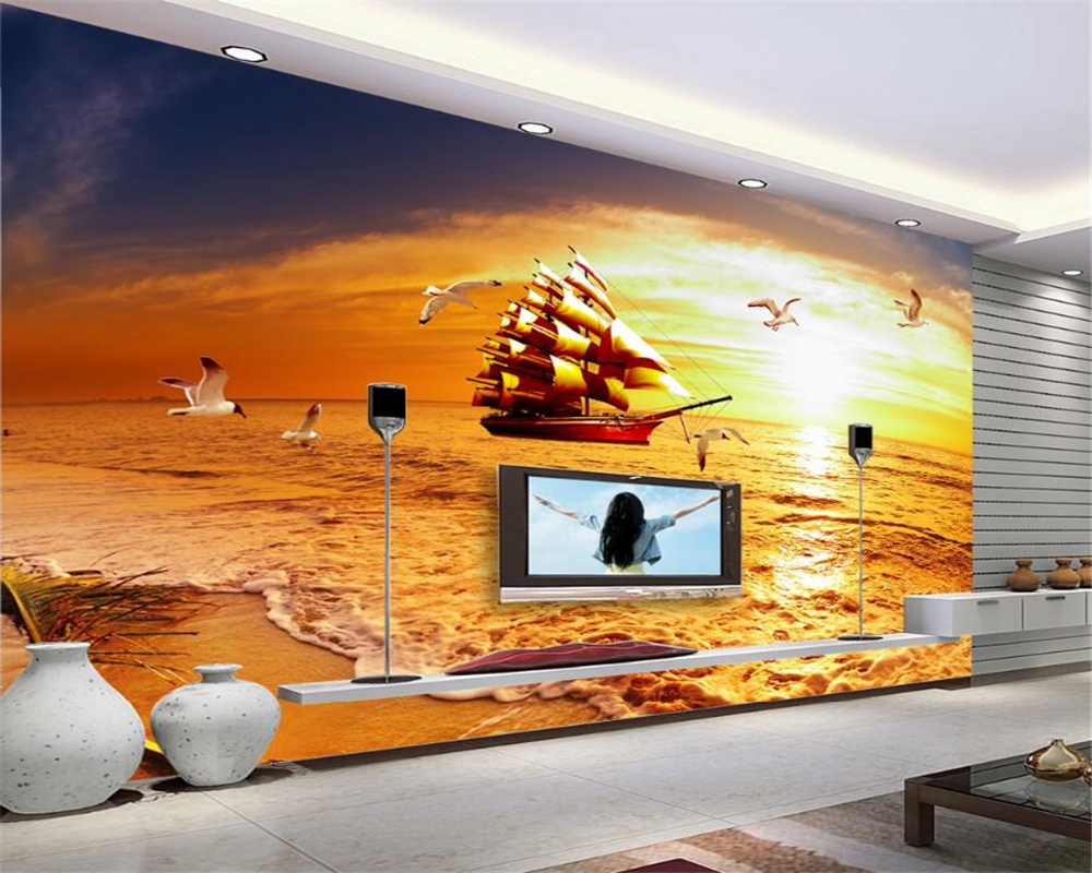 Aliexpress Com Buy Large Custom Mural Wallpapers Living: Beibehang Custom 3D Photo Wallpaper Smooth Sailing Golden