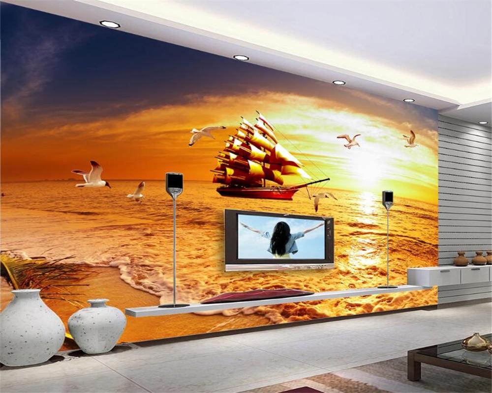 Aliexpress Com Buy Large Custom Mural Wallpapers Living: Beibehang Custom 3D Photo Wallpaper Smooth Sailing Golden