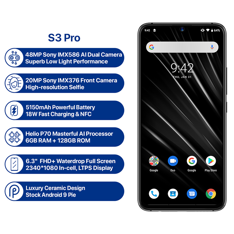 UMIDIGI S3 Pro Android 9.0 téléphone Mobile 48MP + 12MP + 20MP Super caméra 5150 mAh grande puissance 128 GB 6 GB 6.3