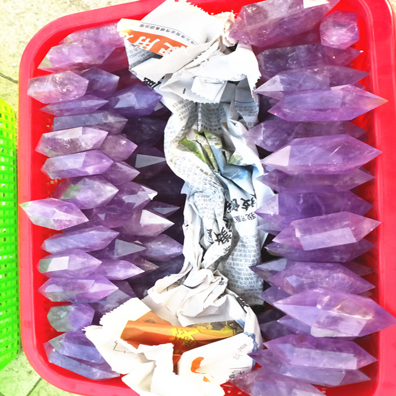 100% natural purple crystal wand healing wholesale price for Christmas gifts