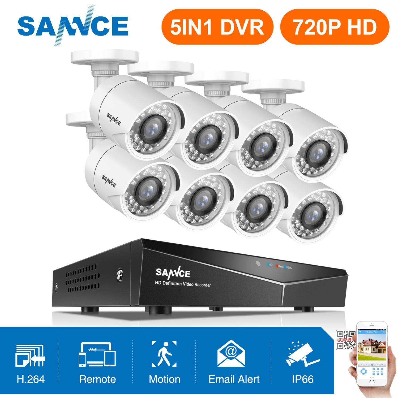 SANNCE 8CH 720 P 5in1 système de vidéosurveillance à domicile 8 pièces 1MP IR caméra de sécurité extérieure étanche 1280TVL système de Surveillance à domicile DVR Kit