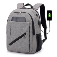 Wholesale foreign trade for men's USB rechargeable backpack with lock anti theft shoulder Backpack Travel bag on behalf of one