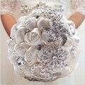 Envío gratis 2016 hermoso ramo de novia joyería fina y otras combinaciones de rosas ramo de la boda romántica W228 de Color Personalizado