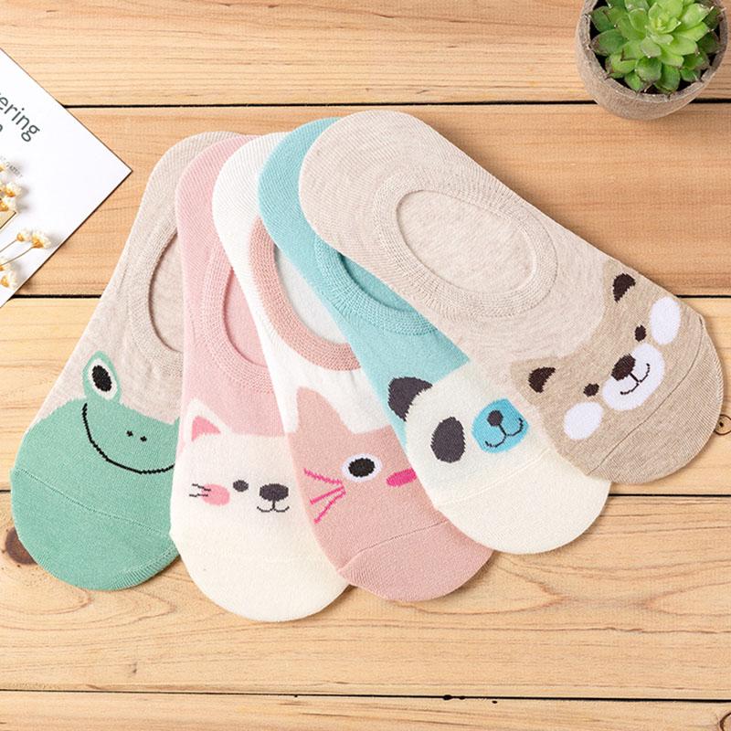 5 пар/лот Для женщин носки Карамельный цвет мелких животных мультфильм шаблон короткие носки для летние дышащие Повседневное девочек Забав...