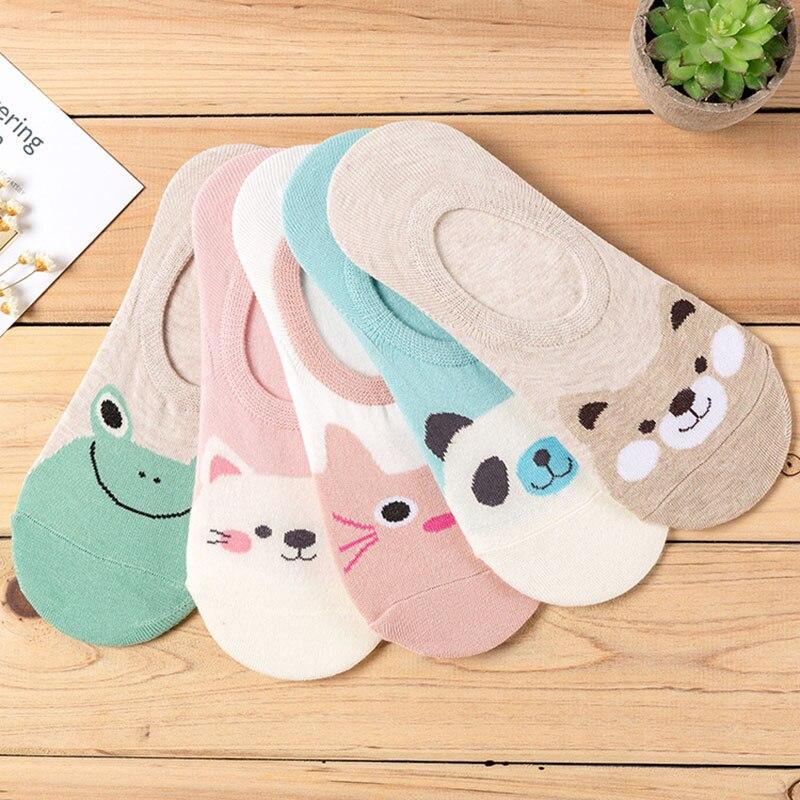 5 Paare/los Frauen Socken Candy Farbe Kleine Tier Cartoon-Muster Boot Socke für Sommer Breathable Beiläufige Mädchen Lustige Mode