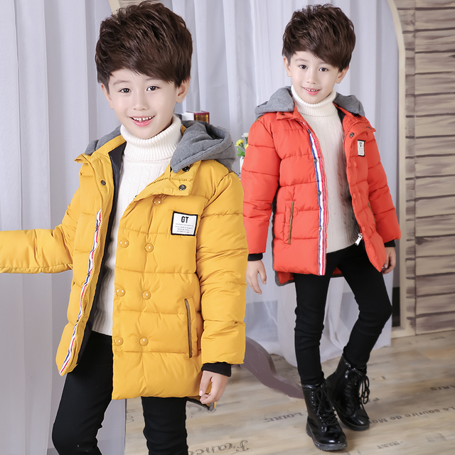Boys Winter Jackets Thicken Cotton Hooded Coats For Boys Children Clothing Warm Boys Outerwear Kids Parka Tops 5-14 Years
