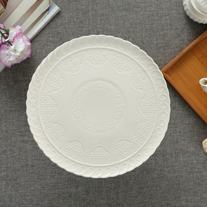 Image 3 - Ceramic Relief Compote Cake Stand Plate with Cover Decorative Porcelain Stem Dessert Serving Tray Fruits Dinnerware Utensil