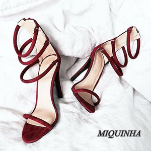 ФОТО faddish wine red suede leather women sandals thin high heel open toe cover heel shoes narrow band zipper party wedding shoes