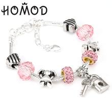 HOMOD Romantic Love DIY Charm Bracelet Love Heart Key and lock Brand Bracelet for Women Jewelry Girlfriend Gift