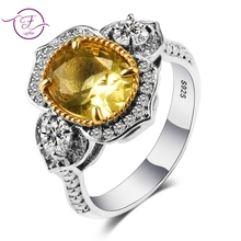 Romantic Yellow Citrine Gemstone 925 Sterling Rings Jewelry For Women Girls Party Wedding Engagement Daily Gift  Wholesale. недорого