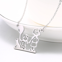 Any Personalized family member Necklace Steel Pendant Mom kid Balloon dog walk Custom collarbone chain necklace Personalized