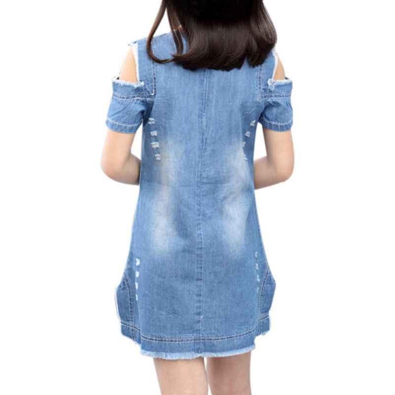 Детские для маленьких девочек узор прямо мини-платье для девочек принт короткое лето О-образным вырезом джинсовые платья