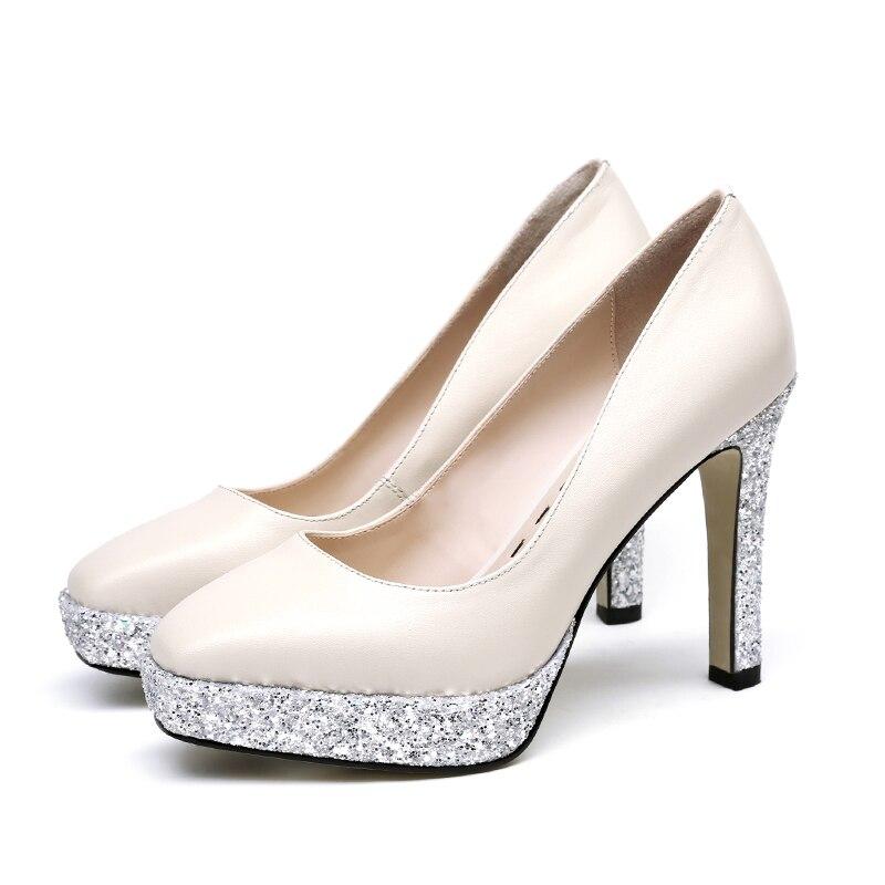 Otoño Pie Zapatos Manera Dedo Beige Wetkiss Shallow Del Bombas Tacones Mujeres Plataforma Bling Cuero negro Nueva Cuadrado Calzado De Vaca 2018 La Señoras dw0xnHR8qn