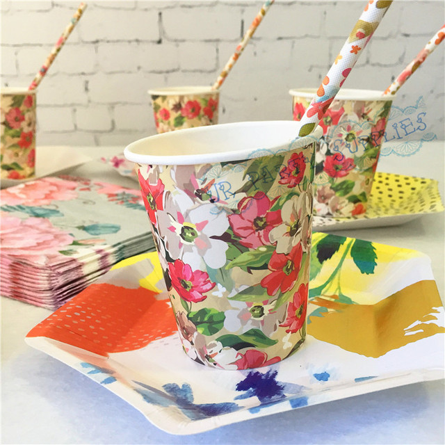120 sets FLORAL TEA PARTY Mini Paper Plates Paper Cups Paper Straws Paper Napkins Vintage Style & 120 sets FLORAL TEA PARTY Mini Paper Plates Paper Cups Paper Straws ...