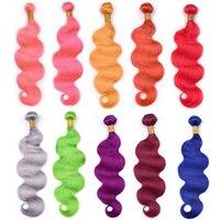 Ms Love Pre Colored Human Hair Bundles Body Wave Remy Brazilian Hair Weave Bundles Red Pink Orange Yellow Blue Green Grey Purple