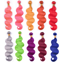 Ms Love Red Pink Orange Yellow Blue Green Grey Purple Human Hair Bundles Body Wave Remy Brazilian Hair Weave Bundles 100 Gram