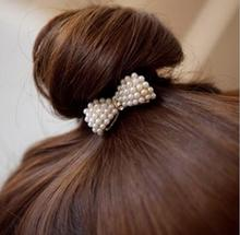 2016 Fashion Little Artificial Pearls Ropes Sweet  Bow Knot High Elastic Rubber Hair Bands Women Girls Hair Accessories
