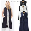 Summer New Fashion Long Pockets Turn-down Collar Open Stitch Sleeveless Pantone Blue Pink Beige Black Blazer Vest Jackets JAC255