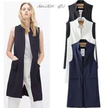 Summer New Fashion Long Pockets Turn-down Collar Open Stitch Sleeveless Pantone Blue Pink Beige Black Blazer Vest Jackets JAC255