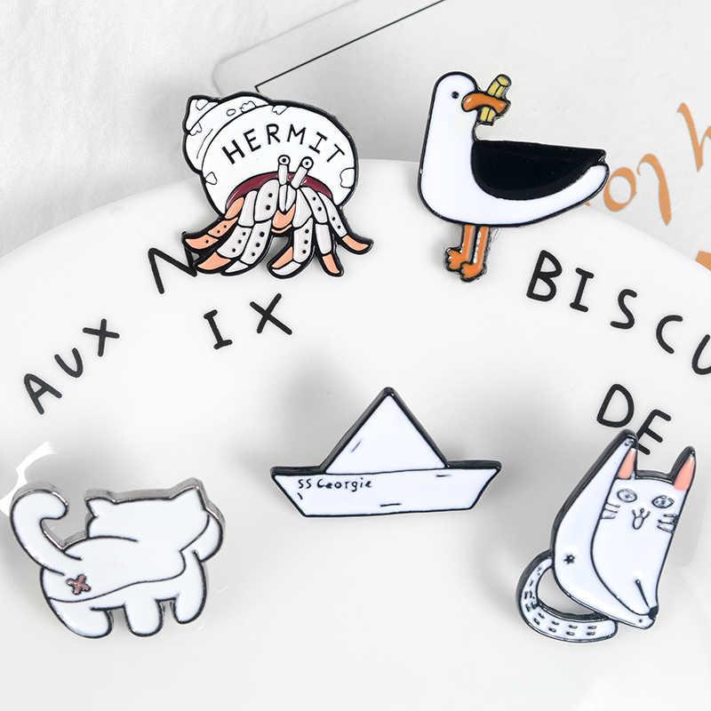 Простой заколки с животными белый брошь в виде корабля Перейти кошка утка отшельник Маргарита милые интимные аксессуары Jewelry одежда рюкзак для детей Подарки