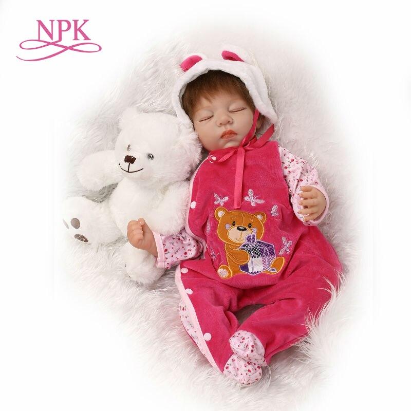 NPK 22inch silicone vinyl real soft touch reborn baby lifelike bebe doll children Christmas Gift sleeping sweet baby