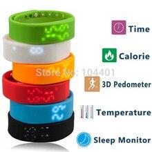 W2 Smartband Temperatura Delgado Reloj de Pulsera Inteligente USB 3D Podómetro Sleep Monitor de Calorías Tiempo Display Muñeca Deportes de Fitness