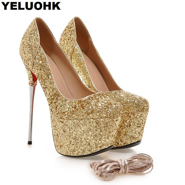 9f50d7b7148b Silver Glitter Extreme High Heels Wedding Shoes Woman Sexy Dress Women Party  Shoes Pumps 16cm Thin Heel Ladies Shoes