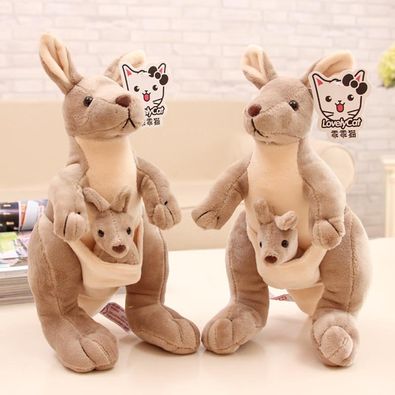 Candice guo! super cute plush toy lovely parent kid Kangaroo soft stuffed doll decoration girls kids birthday Christmas gift 1pc