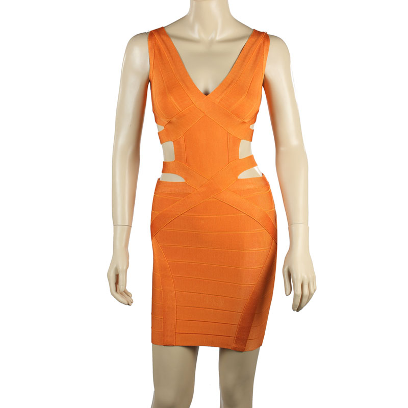 LE CELEBRE Spandex Rayon Women Party Dresses Orange 2018 Fashion V Neck Bandage Dresses Hollow Out Mini Ladies Dresses