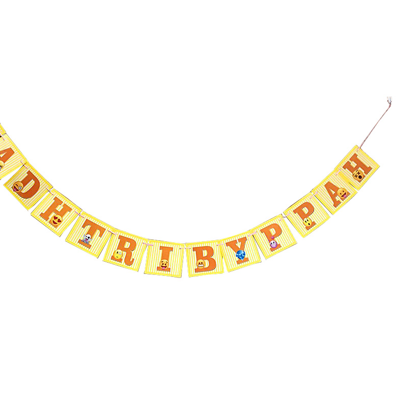15pcs Lot Funny Printed Emoji Cartoon Letter Banner Kids Boy Baby Happy Birthday Flag Party Decoration Children Supplies