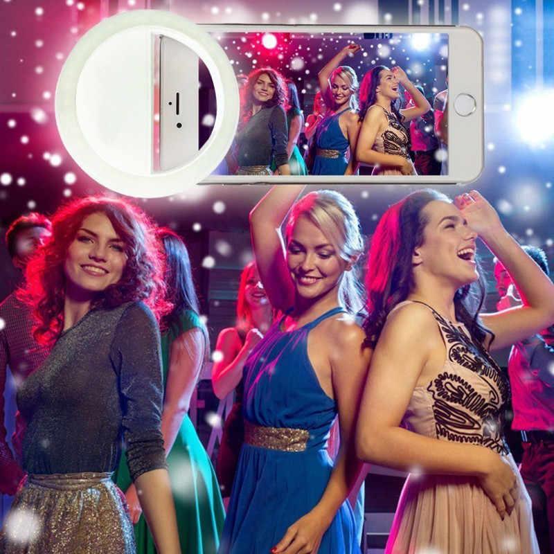 Selfie LED リングフラッシュリュミエール電話ポータブル LED 携帯電話ライトクリップランプ iphone xr telefoon レンズ lampka は telefonu