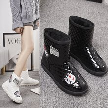 Liren 2019 Winter Fashion Women Boots Ankle Flock Plush Snow for Basic Shoes Waterproof Black and White