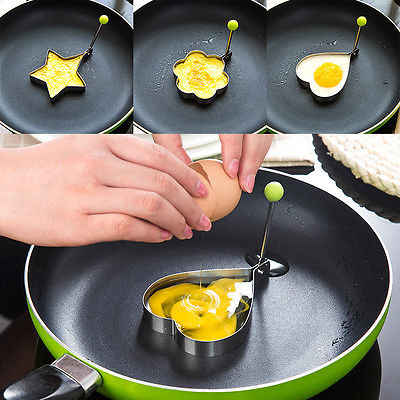 Creative Kitchen Egg Tools Stainless Steel Fried Egg Mold Shaper Cute Pancake Mould Heart Mold