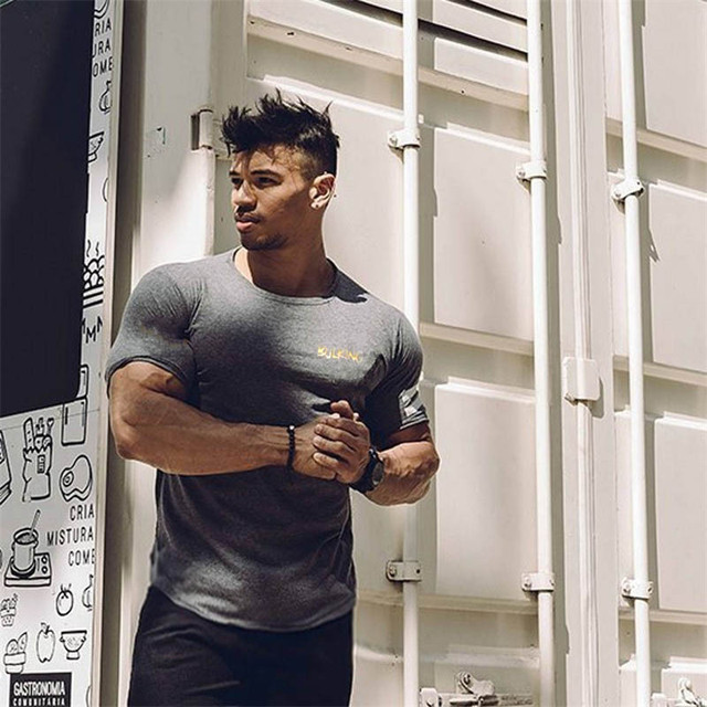 Men Short Sleeve Cotton T-shirt Summer Casual Fashion Gyms Fitness Bodybuilding T shirt Male Slim Tees Tops Clothing 26