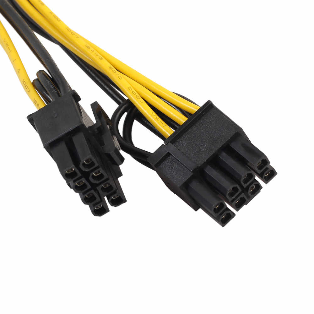 2019 جديد 18AWG PCI-E 6 دبوس إلى 2x6 + 2 دبوس (6-دبوس/ 8-دبوس) الطاقة الفاصل كابل بكيي PCI اكسبرس دروبشيبينغ الجملة USPS